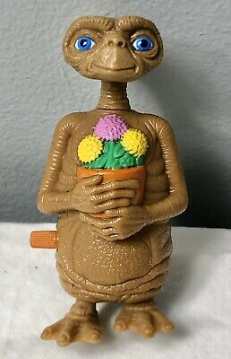 "Vintage 3.5"" ET the Extra-Terrestrial Wind-Up Toy Holding Pot of Flowers"
