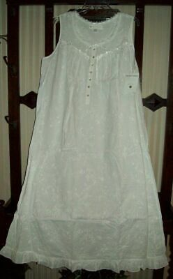 NWT EILEEN WEST EMBROIDERED 100% COTTON LAWN slvless LONG GOWN WTR WHT 5214507 M