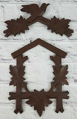 Vintage 2 Piece Front Face Carved Wood Cuckoo Clock German Made