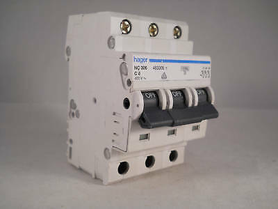 Hager MCB 6 Amp Triple Pole 3 Phase Circuit Breaker Type C 6A 463306 NC306