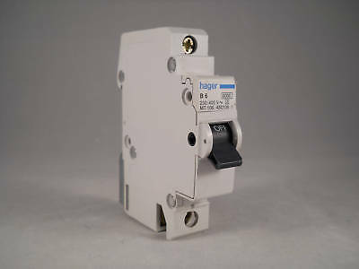 Hager MCB 6 Amp Single Pole Circuit Breaker Type B 6A B6 450106 MT106