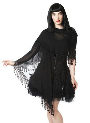 Stole Black Transparent, Borders in Embroidery and Lace, Gothiqu Sinister