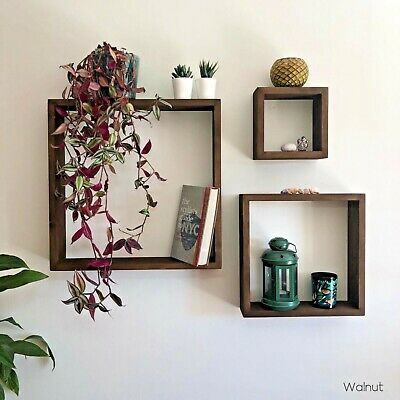 Square Floating Shelf. Rustic Solid Wood, wall decor with fixings and brackets