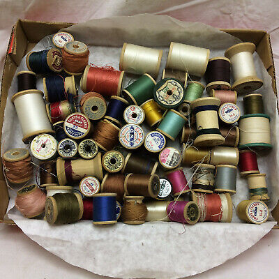 65 Vintage Wood Sewing Thread Spools Coats Clarks American Thread Co.