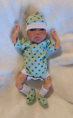 """tiny hearts onecie body//romperstyle  hat and sox for 8/"""" ooak doll baby"""