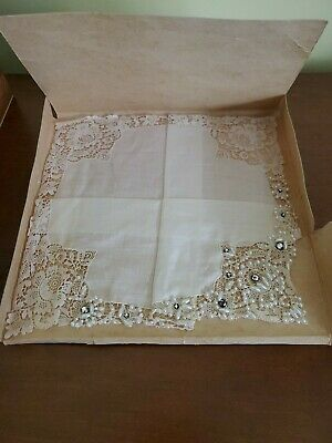 Antique Ivory Colored BRIDES BRIDAL HANKY Lace Pearls Rhinestones UNUSED