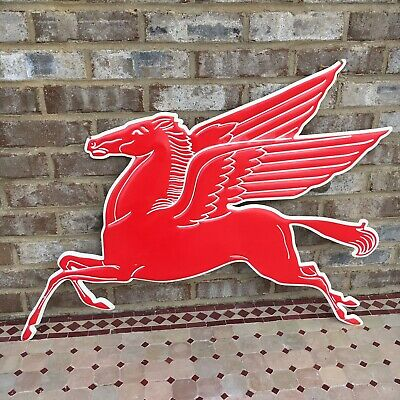 Mobil Pegasus Extra Large Embossed Premium Metal Tin Sign Vintage Garage Sign