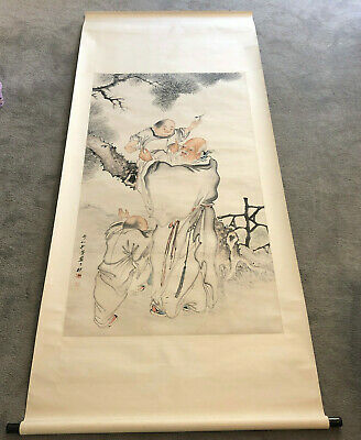 Large old Chinese signed scroll painting on paper