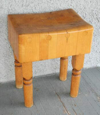 Large Antique Maple Butcher Block Table. Solid Maple Dovetail Joint