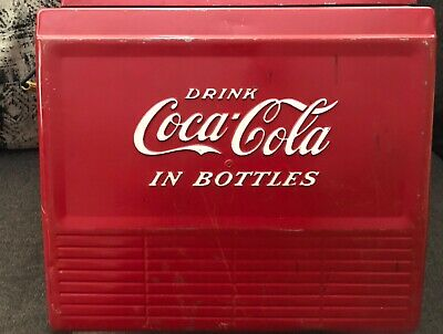 VINTAGE Coca Cola Metal Cooler... Progress Refrigerator co. Louisville, Ky.