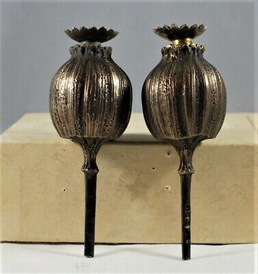 1901 Novelty bronze sterling poppy seed pods condiment shakers