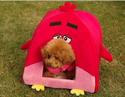 Small Pet Dog Cat House & Soft Padded Bed Sleepy Red Bird Design - SALE !!