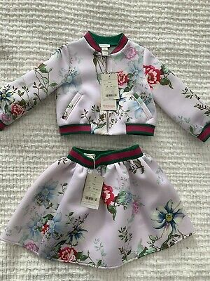 BNWT Monsoon Girls Toddlers Set Jacket & Skirt Floral Luxury Dubai 3-4Y $500