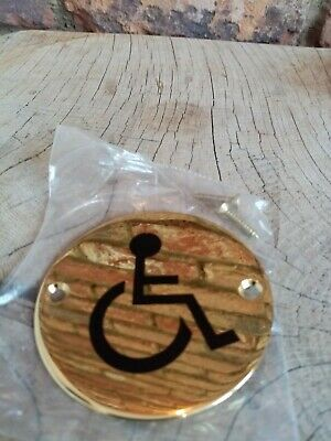 2 number Polished Brass Circular Round disabled Toilet sign