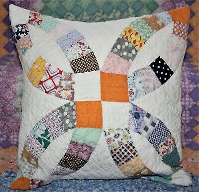 Throw Pillow Made From Vintage 1930's Double Wedding Ring Quilt With Insert