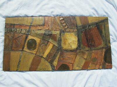 Rowland Fade Mixed Media Plaster & Paint On Board Vintage MCM Abstract Wall Art