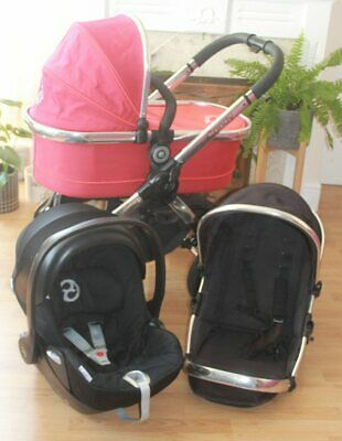 Lovely Icandy Peach 3  Black Magic Travel System 3 In 1 Cybex Cloud Q Car Seat