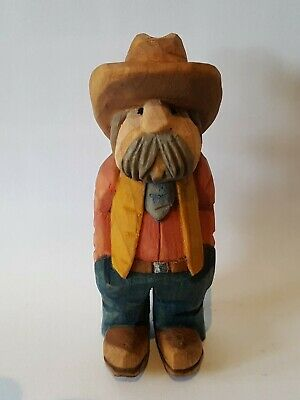 Hand Carved And Hand Painted Wooden  Cowboy
