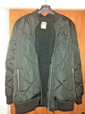 Next Girls Green, Lined, Quilted Bomber Jacket / Coat (Size 14 Years)