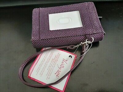 Thirty One Every-Day Wristlet in Plum Gingham Pop 4295 No Monogram