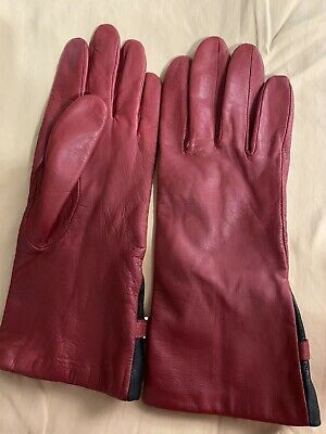 Ladies Nine West red leather gloves Size Large