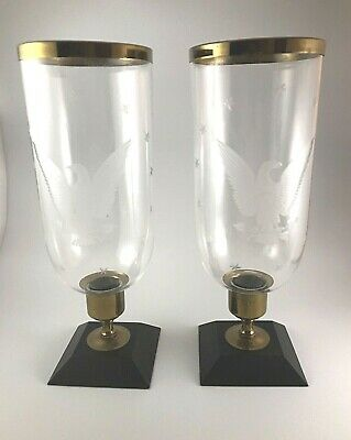 Pair Hurricane Shades Etched Glass Eagle Stars Wood Brass Base Candlesticks GUC