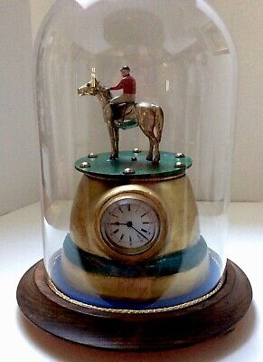 Antique Equestrian Clock With Horse Rotating Slow under glass Dome