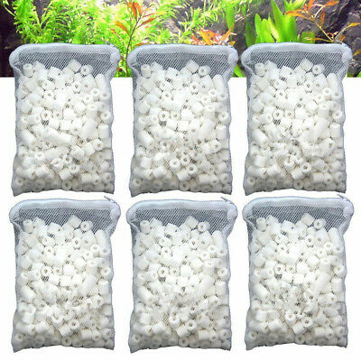 6 lbs Bio Ceramic Rings in 6 Bags For Aquarium Fish Pond Reef Canister Filter US