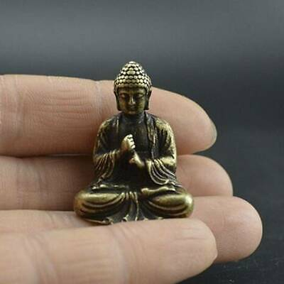 Chinese Old Pure Brass Hand Carved Sakyamuni Buddha Small Statue US.