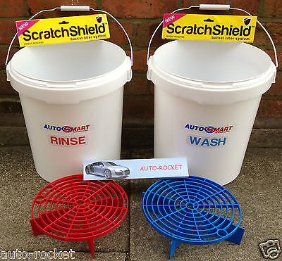 2 x Grit Guard Car Wash Buckets, Red & Blue Shields, with Autosmart labels 20L