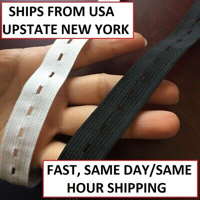 Buttonhole Elastic Black 30 Yards 3/4 Inch Ships Fast From USA Button Hole