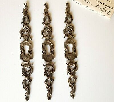 Leaf 3 antique silver escutcheon Furniture door Salvaged keyhole cover set 6.3""