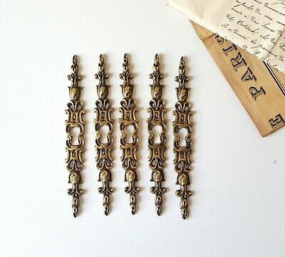 Leaf 5 antique brass escutcheons Furniture door Salvaged keyhole covers 6.1 in
