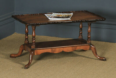 Antique English Queen Anne Style Flame Mahogany Rectangular Coffee Side Table