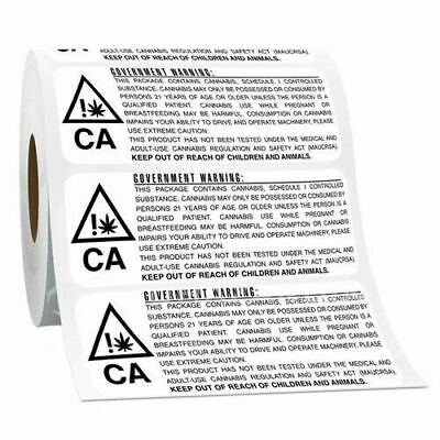 New California Rx Medical Marijuana Compliance Cannabis Labels Black/White