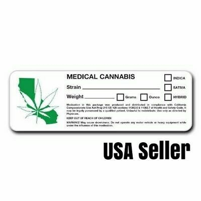 New California Rx Medical Marijuana Cannabis Labels Green