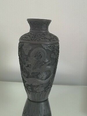 chinese carved antique cinnabar style dragon vase