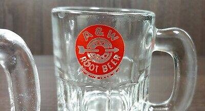 Vintage A&W Root Beer Float Heavy Mini Glass Mug Ice Cold Red Bullseye Logo SM