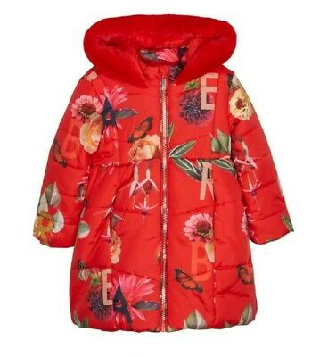Ted Baker Girls Red Floral Padded Coat 3-4 Years. Designer