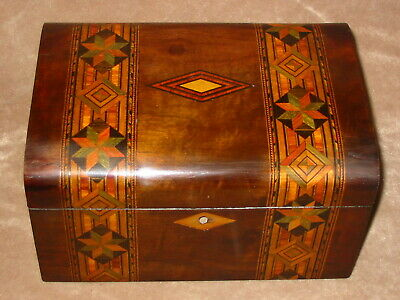 Lovely Banded Marquetry Victorian Sewing Box / Jewellery Box  Circa 1880