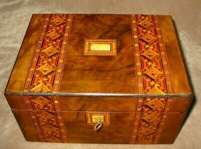 Stunning Banded Marquetry Victorian Sewing Box / Jewellery Box  Circa 1880