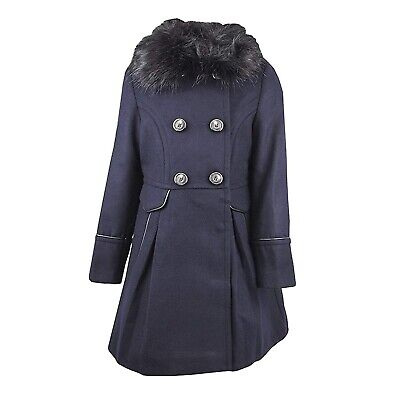 Next girls navy with black fur collar coat winter age 6 Years