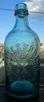 Whittled Perfect Pint Aqua Geyser Spring Saratoga NY Mineral Spring Water Bottle