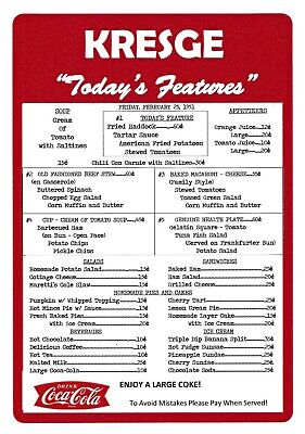 Kresge Five And Ten Lunch Counter Menu Reprint From February 1951, Laminated