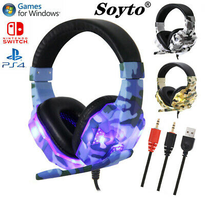 Wired Stereo Gaming Headset/Headphones For PlayStation 4 PS4 Switch PC 3.5MM ⑤UK