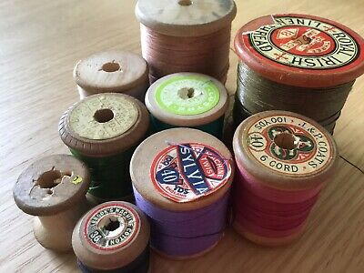 9  Vintage Assorted Wooden Cotton Bobbins For Crafts/ Collecting/Sewing Etc