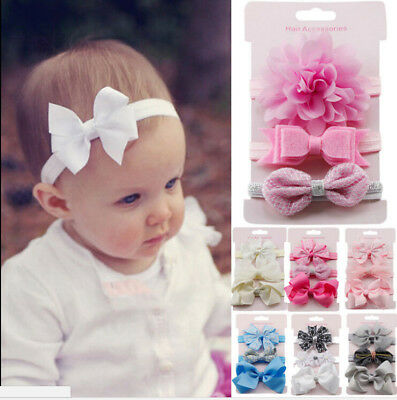 3X/Set Newborn Girl Bow Headband Ribbon Elastic Baby Headdress Kids Hair Band ON