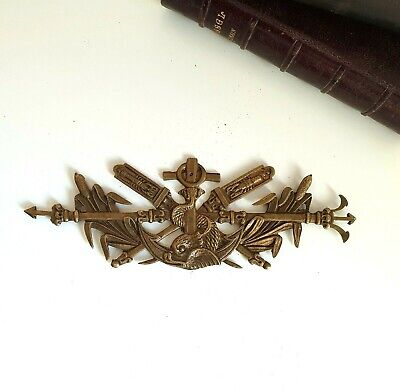 Trident Fish Dolphin Small vintage brass pediment Furniture 6.97 inches