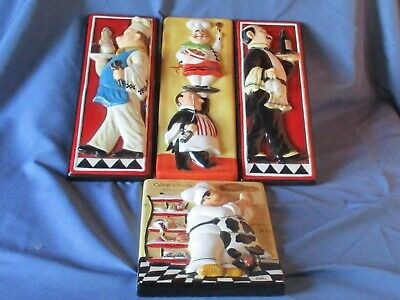 Lot of 4 Ceramic Wall Hanging Plaques Chefs & Waiters Kitchen Decor