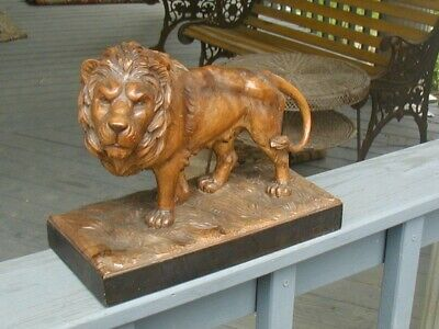 Striking Carved Lion. Good Sized, Sturdy and Classy. Beautiful Carved Work.